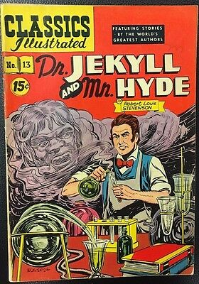 CLASSICS ILLUSTRATED #13 Dr. Jekyll & Mr. Hyde (HRN 87) Kiefer cover VG+/FINE-