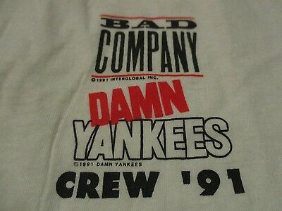 1991 BAD COMPANY / DAMN YANKEES CREW Concert Tour (LG) Shirt ROGERS NUGENT SHAW
