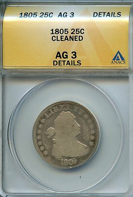 1805 25c ANACS AG3 DETAILS (ABOUT GOOD) DRAPED BUST SILVER QUARTER