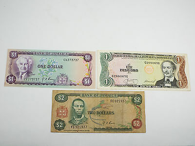 Lot of 3 - 1960 Jamaica 1 & 2 Dollar Note - 1987 Dominican Republic 1 Peso Oro