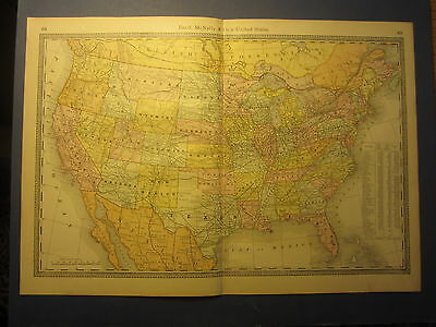 Old 1885 Antique MAP - UNITED STATES - Rand McNally Business Atlas