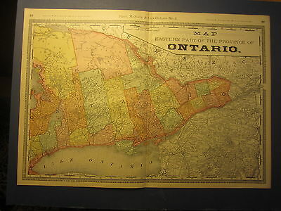 Old 1885 Antique MAP - Eastern ONTARIO Canada - Rand McNally Business Atlas