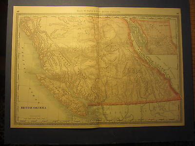 Old 1885 Antique MAP - BRITISH COLUMBIA Canada - Rand McNally Business Atlas