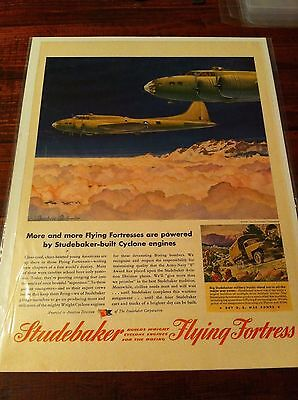 Vintage 1943 Studebaker B-17 Flying Fortress Cyclone Engines WW II Print ad