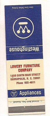 Lowery Furniture Co. 1400 South Main St., Kannapolis NC Westinghouse Matchcover