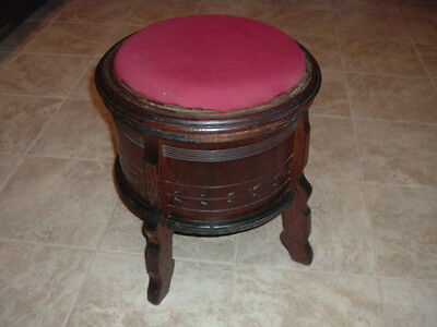 Eastlake Victorian Carved Footstool Sewing Box Storage Bench