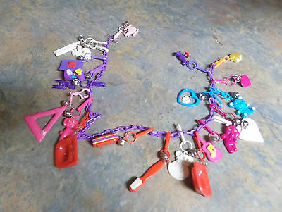 Vintage Lot 21  Plastic Charms And Necklace  80s