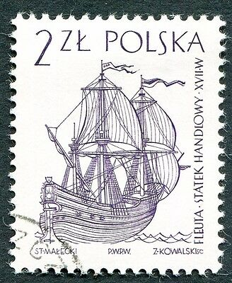 POLAND 1964-5 2z SG1462 used FG Sailing Ships 2nd series Dutch fleute #W27