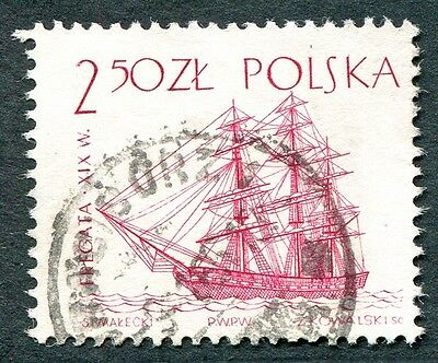 POLAND 1964-5 2z50 SG1464 used NG Sailing Ships 2nd series Sail frigate b #W27