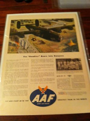 Vintage 1944 Army Air Force The Rambler B-24 Men Of 17 WW II Print ad