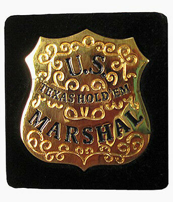 CARD GUARD - U.S. MARSHAL TEXAS HOLD'em GOLD POKER PROTECTOR FREE SHIPPING *
