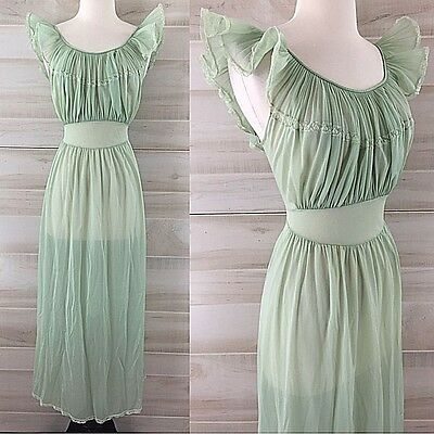 Vintage 70s seafoam green sheer ruffled gathered nightgown long maxi M