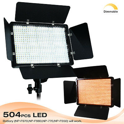 Photography 504 LED Light Panel Kit Video Studio Lighting Dimmer Mount Photo