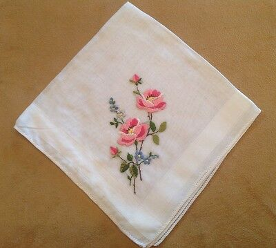 Vintage Ladies Hanky, Handkerchief, Pink And White Embroidered Flowers, Roses