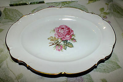 """Hutschenreuther Germany The Dundee Pink Roses Platter 12 3/4""""  Exc"""