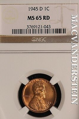 1945-D Lincoln Wheat Cent- Ngc Ms65 Rd !! Brilliant Uncirculated !! #sl8202