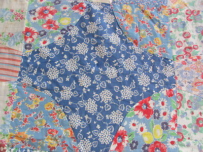 Vintage Snowball Hummingbird quilt top all feed sack cotton large size