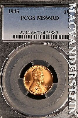 1945 Lincoln Wheat Cent- Pcgs Ms66Rd !! Red !! #sl10476