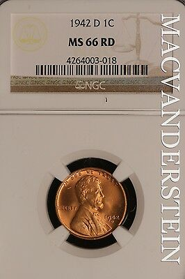 1942-D Lincoln Wheat Cent- Ngc Ms 66 Rd !! Red !! #sl10229