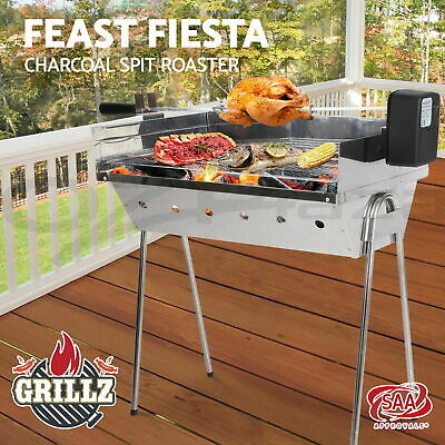 GRILLZ Electric Spit BBQ Roaster Rotisserie Range Wireless LARGE Charcoal Grill