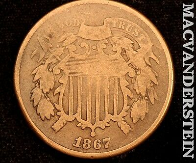 1867 Shield Two Cent- Scarce !! Better Date !! #t2082
