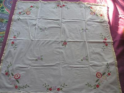 Vintage hand embroidered  tablecloth crocheted edge gorgeous!! High Teas