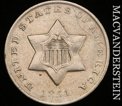 1851-O Three Cent Silver - Scarce!!  High Grade!!  Lustrous!!  #h3393