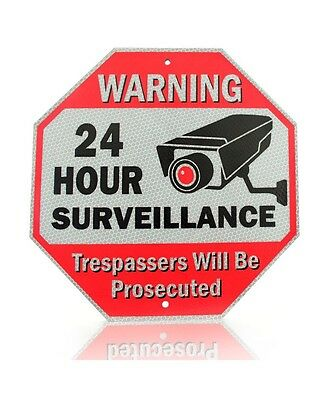 REFLECTIVE Metal SECURITY SIGN~WARNING 24 Hour Surveillance NO TRESPASSING 12x12