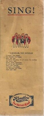 "HENDLERS ICE CREAM ""Sing"" 6-page booklet of songs (some are racial) circa 1950"