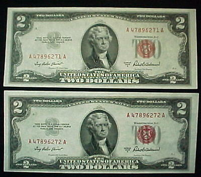 1953A $2.00 Bill 2 Sequential Two Dollar Red Seal Frn Notes Consecutive Unc.