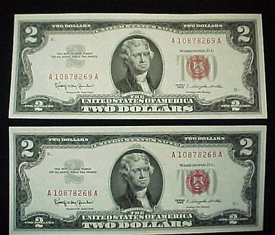 1963 $2.00 Bill 2 Sequential Two Dollar Red Seal Frn Notes Consecutive Unc.