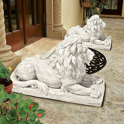 Set of 2: Majestically Poised Protector Lion European Style Sentinel Sculpture