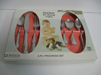 Vintage Oneida 6 Pc Progress Set Stainless Silverware Baby Toddler Child in box