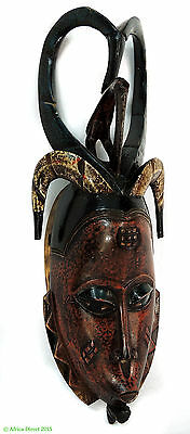 Guro Mask Horned with Bird Motifs Red Face African Art SALE WAS $190.00