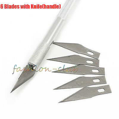 6Blade Stainless Multi-Purpose Art Hobby Engraved Sculpture Craft Knives Blades
