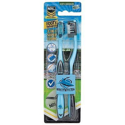 850030 Cronulla Sharks Twin Pack Nrl Team Footy Toothbrushes