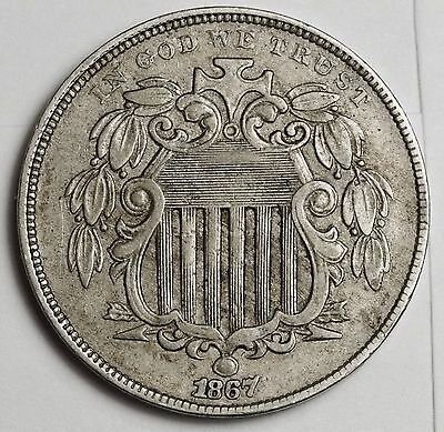 1867 Shield Nickel.  With Rays.  Natural X.F.  110072