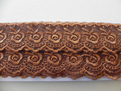 New Card of Silky embroidered Lace - Brown 4cm