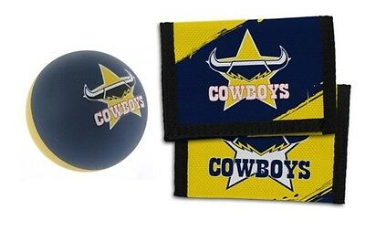 Set Of 2 North Queensland Cowboys Nrl Team Logo Kids Nylon Wallet & Bounce Ball