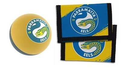 Set Of 2 Parramatta Eels Nrl Team Logo Kids Nylon Wallet & Bounce Ball