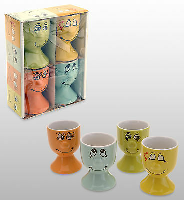Set of 4 Egg Cups Eggcup x 4 Laughing Face Design