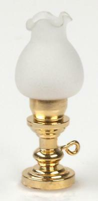 Melody Jane Dolls House Brass Oil Lamp Frosted Shade Miniature 1:24 Electric