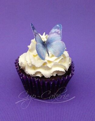 24 x Light Purple Butterfly Edible Cupcake Toppers Cake Decorations Wafer Rice P
