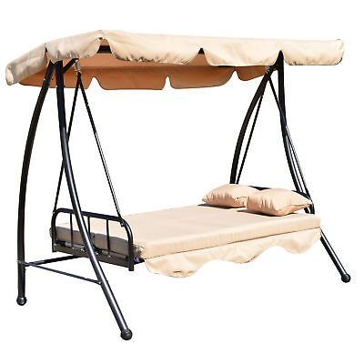 Outsunny Outdoor Swing Chair Bed 2 in 1 w/Cushion Pillow Canopy Steel Furniture