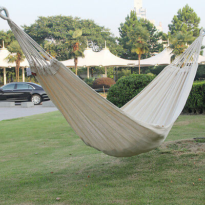 Outdoor Double Hammock 2 Person Relax Garden Swing Camping Soft Cotton Fabric