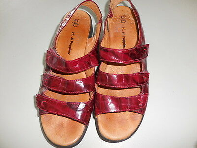 SIZE 11.5 HUSH PUPPIES LEATHER red  flat Sandals GORGEOUS VGC