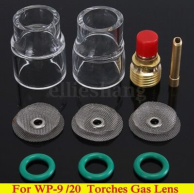 """10x TIG Welding Torch Gas Lens #12 Pyrex Cup Collet Kit For WP-9 20 2.4mm 3/32"""""""