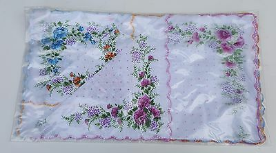 LADIES Handkerchiefs 6 Pack 100% Cotton 30 cm x 30 cm White Trimmed Flowers