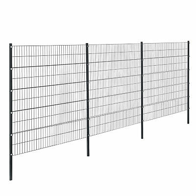 [pro.tec] Fence 6x2m Grey Double Rod Fence Set Grid Meshes Metal Fence