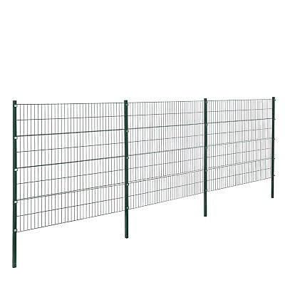 [pro.tec] Fence 6x1, 6M Green Double Rod Fence Set Wire Metal Fence